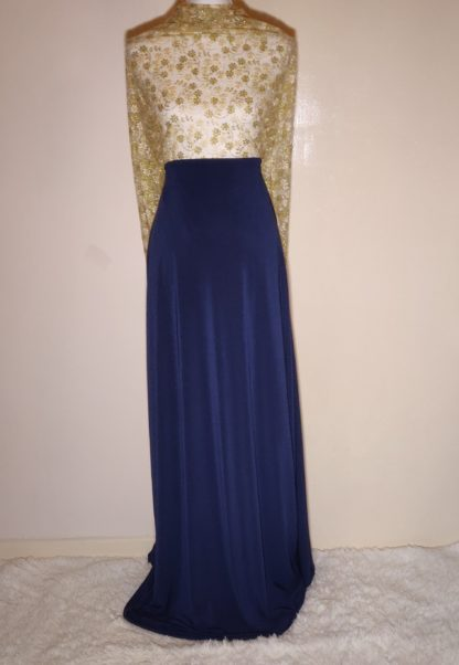 Gold lace with navy maxi dress