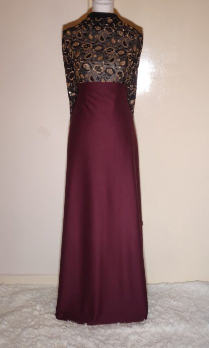 Bronze paisley lace with plum maxi dress