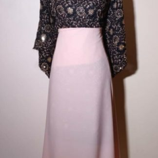 Black and gold lace with pink skirt