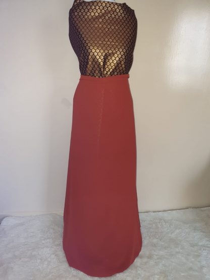 Royal brown, burnt orange maxi dress set