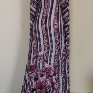 Floral rose pink stripe maxi dress