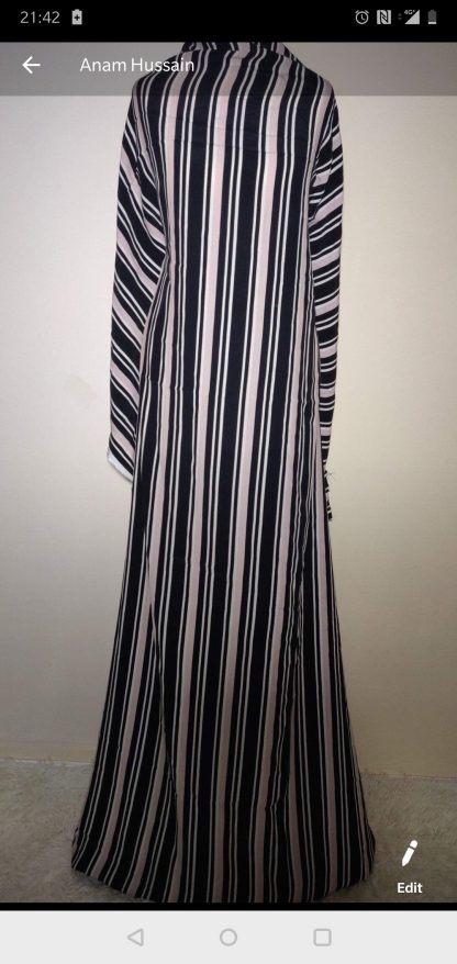 black, white, pink Stripe maxi dress