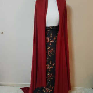 Maroon jacket with black floral skirt