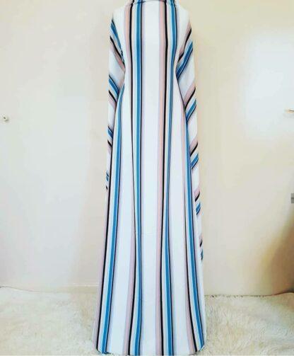 White pastel stripe maxi dress