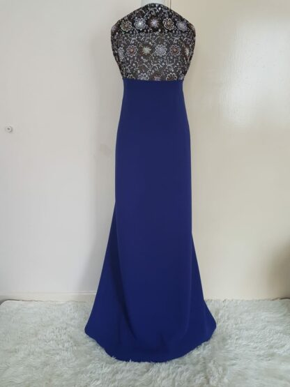 Bronze top with royal blue maxi dress