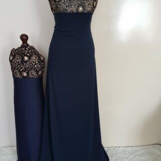 Black sequins navy maxi dress set