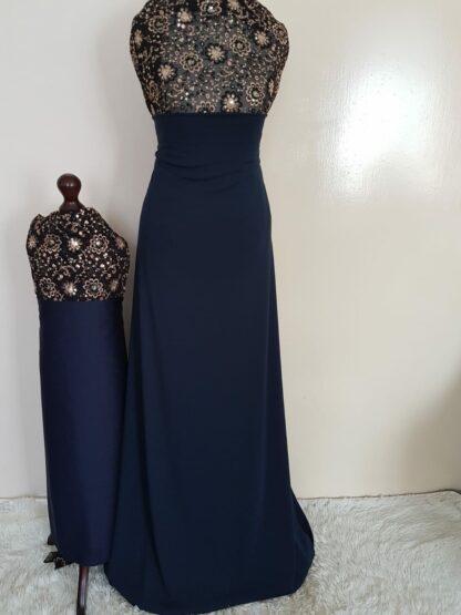 Black sequins navy maxi dress set