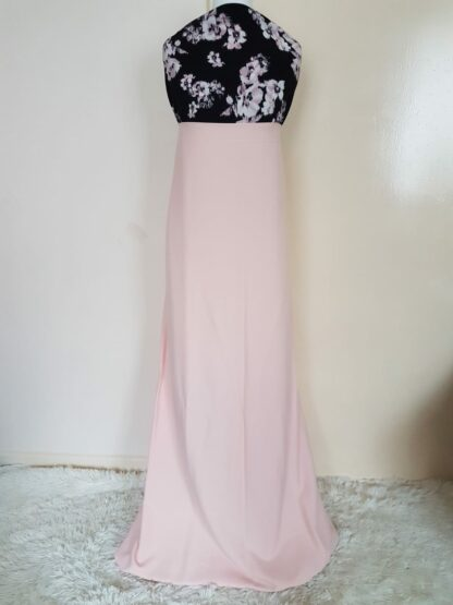Floral light pink maxi dress