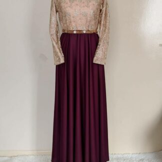 Gold Maroon maxi dress