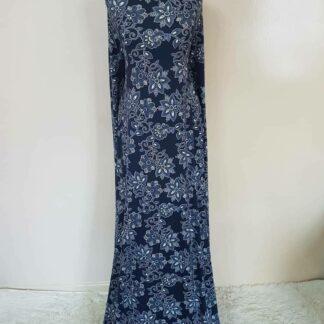 Bronze top with royal blue maxi dress
