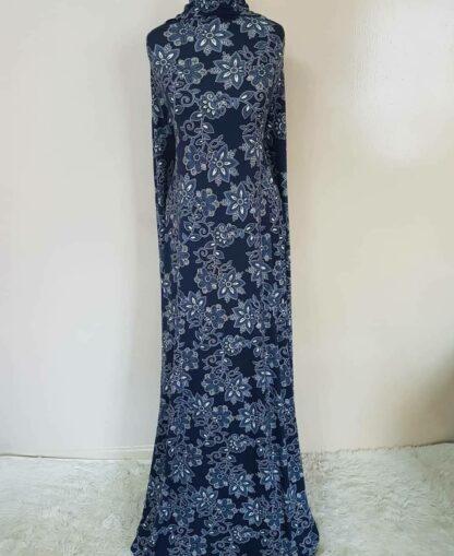 Navy blue printed A line dress