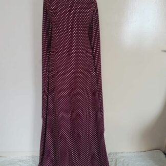 Maroon with white polka maxi dress