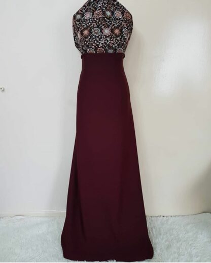 Bronze maroon maxi dress