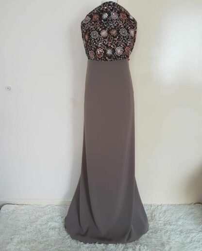 Bronze top and grey skirt