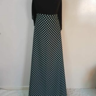 Khaki dotted black maxi dress