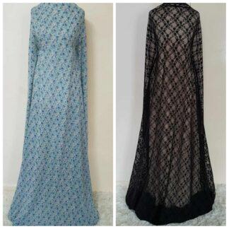Black lace and blue maxi dresses