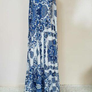 Blue and white paisley maxi dress