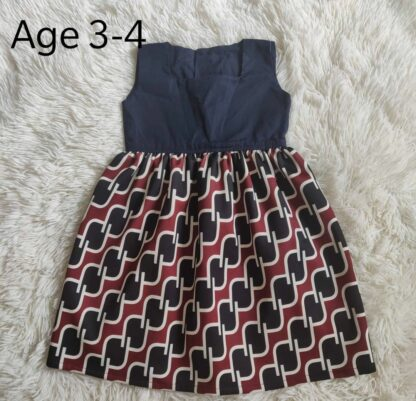 Navy and maroon geometric dress