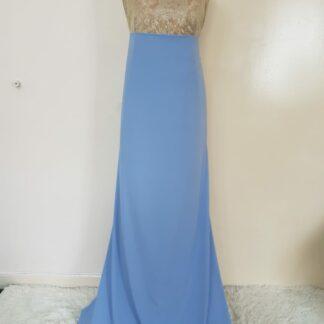 Gold pastel blue maxi dress