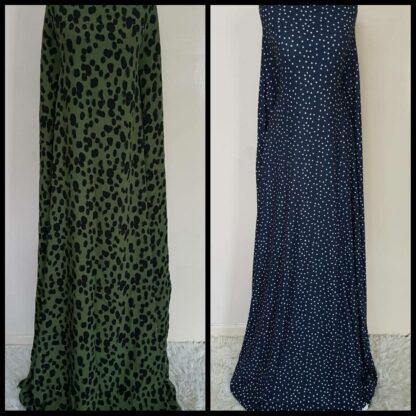 Khaki dotty and navy polka maxi dress