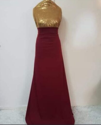 Gold sequins maroon dress