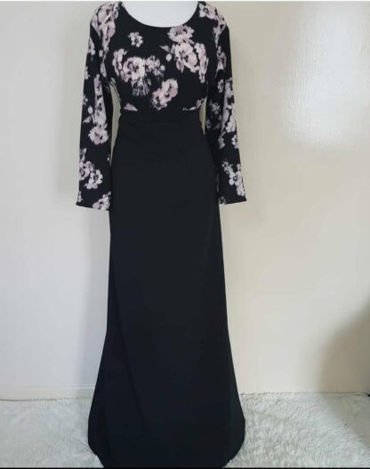 Floral top and black skirt maxi dress