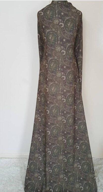 Khaki paisley maxi dress (pocket)