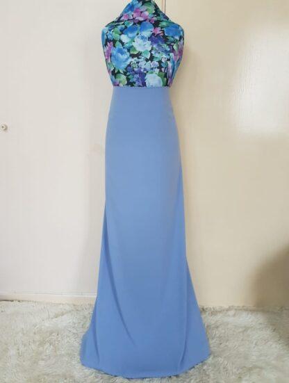 Blue maxi dress dipped hem