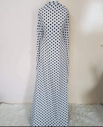 White polka maxi dresses